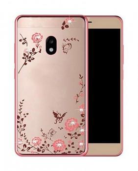 Zadní silikonový kryt na Samsung J3 2017 růžový s růžovými květy