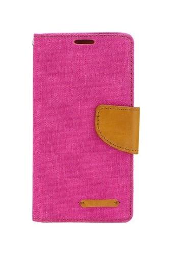 Pouzdro Canvas Samsung A3 2017 knížkové růžové 20570 (kryt neboli obal na mobil Samsung A3 2017)