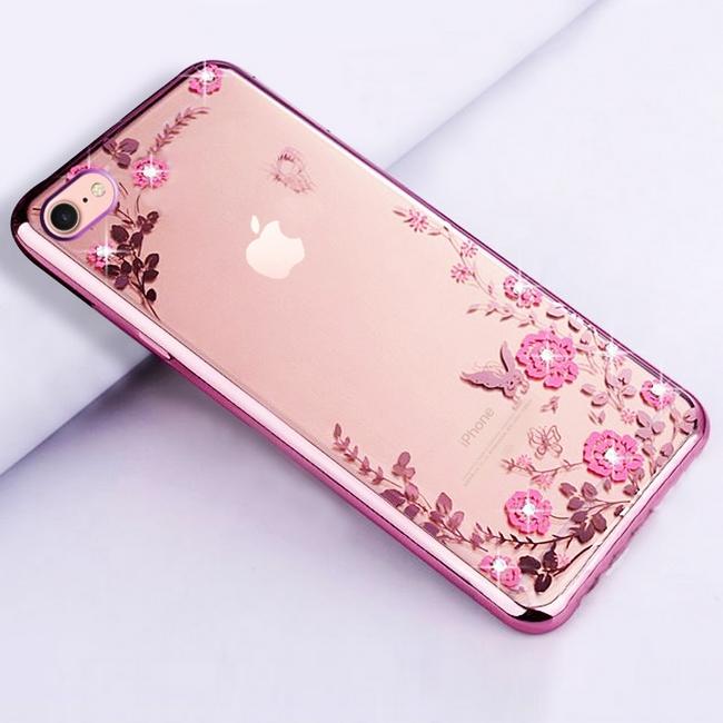 Pouzdro Forcell iPhone 6 / 6s silikon růžový s růžovými květy 25472 (kryt neboli obal na mobil iPhone 6 / 6s)