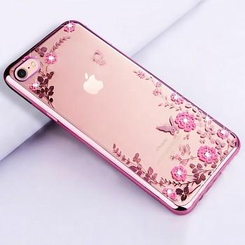 Zadní silikonový kryt na iPhone 6 / 6s růžový s růžovými květy