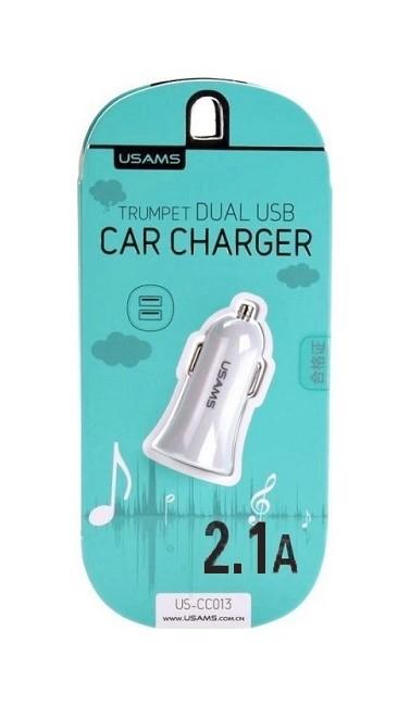 Autodobíječ USAMS Trumpet CC013 Dual 2.1 A bílý 25576