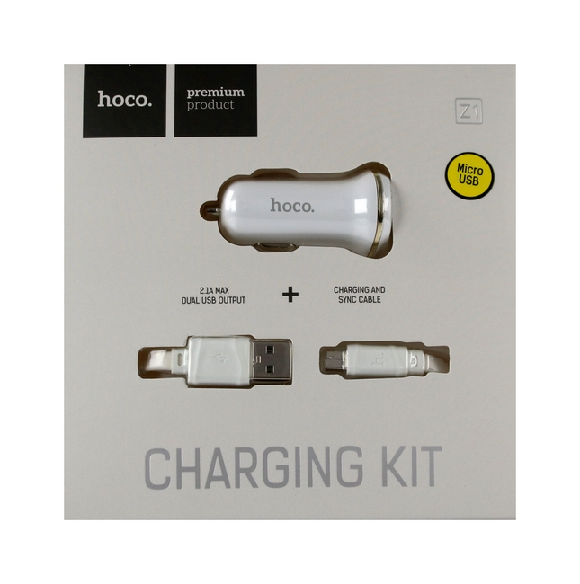 Nabíječka do auta HOCO Z1 micro USB Dual 2.1A bílá 25671