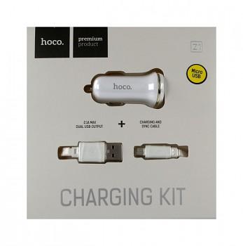 Nabíječka do auta HOCO Z1 micro USB Dual 2.1A bílá