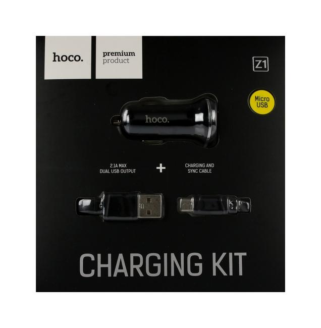 Nabíječka do auta HOCO Z1 micro USB Dual 2.1A černá 25675