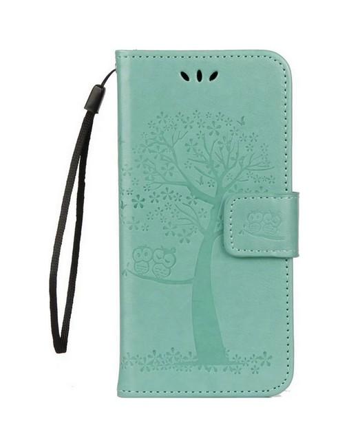 Pouzdro TopQ Huawei P10 Lite knížkové zelený strom sovičky 26096 (kryt neboli obal na mobil Huawei P10 Lite)