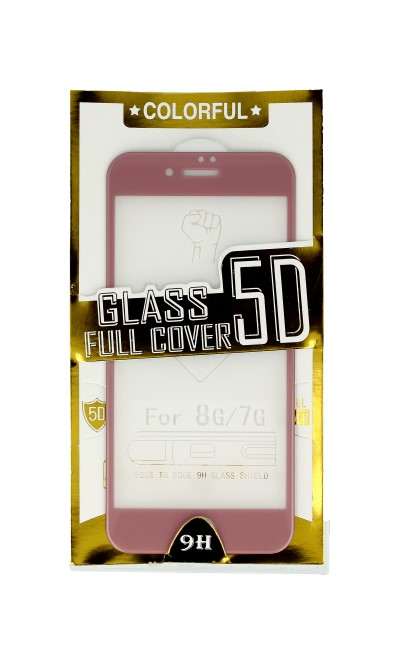 Polykarbonátové tvrzené sklo BestGlass iPhone 8 5D růžové 27419 (ochranné sklo iPhone 8)