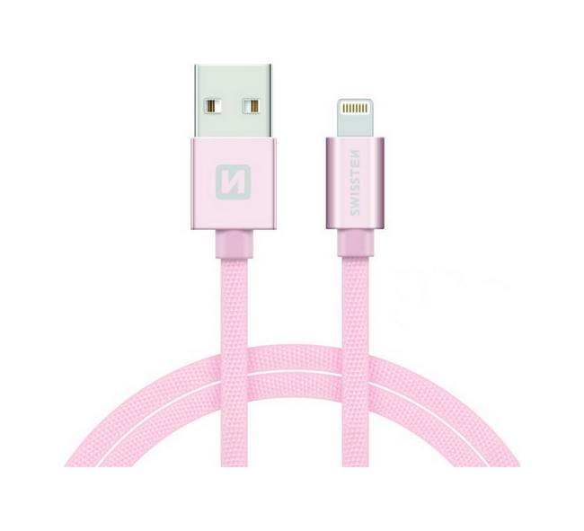 Datový kabel Swissten Lightning pro iPhone 2m růžový 30507