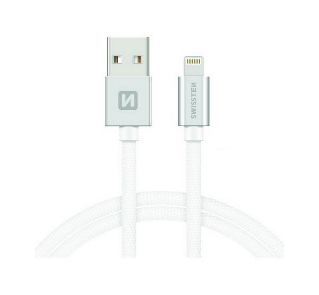 Datový kabel Swissten Lightning pro iPhone 2m stříbrný 30509