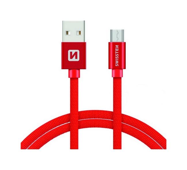 Datový kabel Swissten microUSB 2m červený 30512