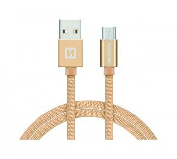 Datový kabel Swissten microUSB 2m zlatý