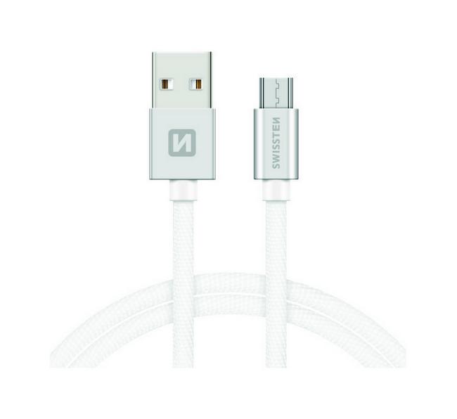 Datový kabel Swissten microUSB 2m stříbrný 30517