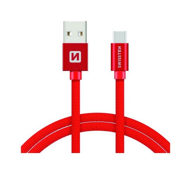 Datový kabel Swissten USB-C (Type-C) 2m červený 30518
