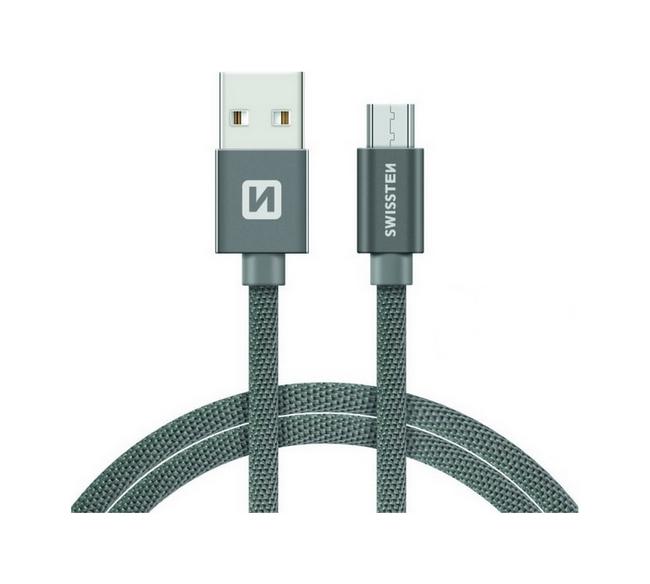 Datový kabel Swissten microUSB 0,2m šedý 30636