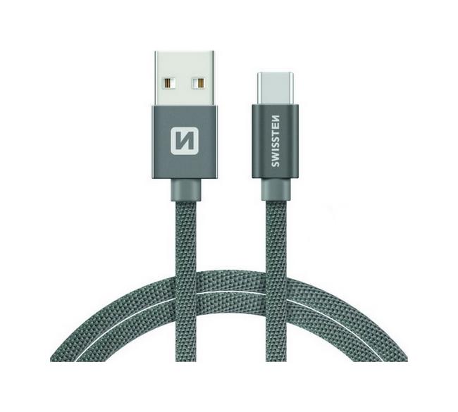 Datový kabel Swissten USB-C (Type-C) 1,2m šedý 30643