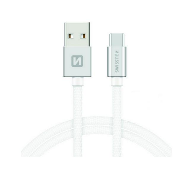 Datový kabel Swissten USB-C (Type-C) 1,2m stříbrný 30644