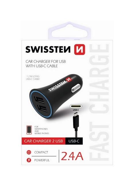 Nabíječka do auta Swissten USB-C (Type C) 2.4A Dual černá 30685