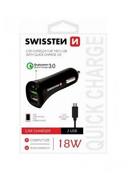 Rychlonabíječka do auta Swissten micro USB 2.4A Dual černá
