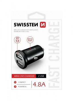 Nabíječka do auta Swissten 4.8A černá Dual černá