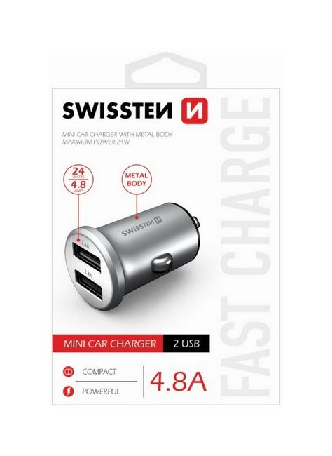 Nabíječka do auta Swissten 4.8A stříbrná Dual 30907