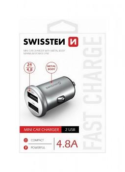 Nabíječka do auta Swissten 4.8A černá Dual stříbrná