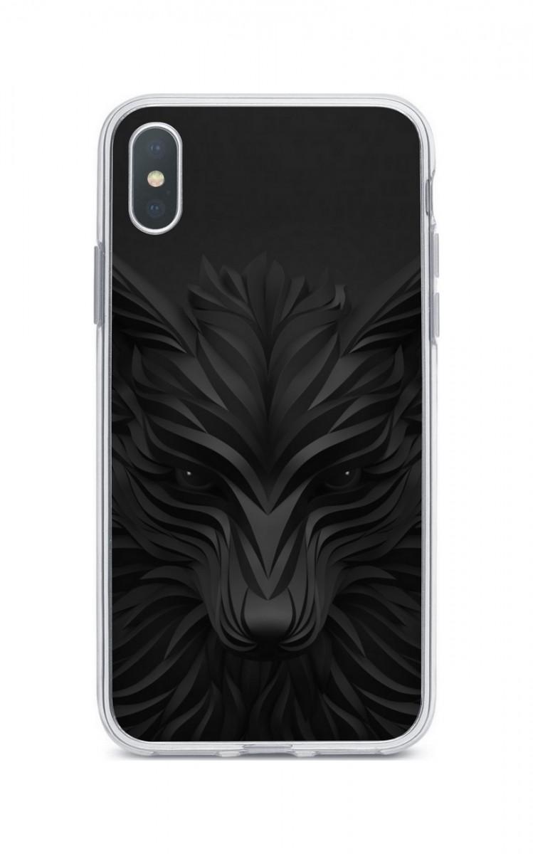 Zadní silikonový kryt na iPhone XS Max Černý vlk