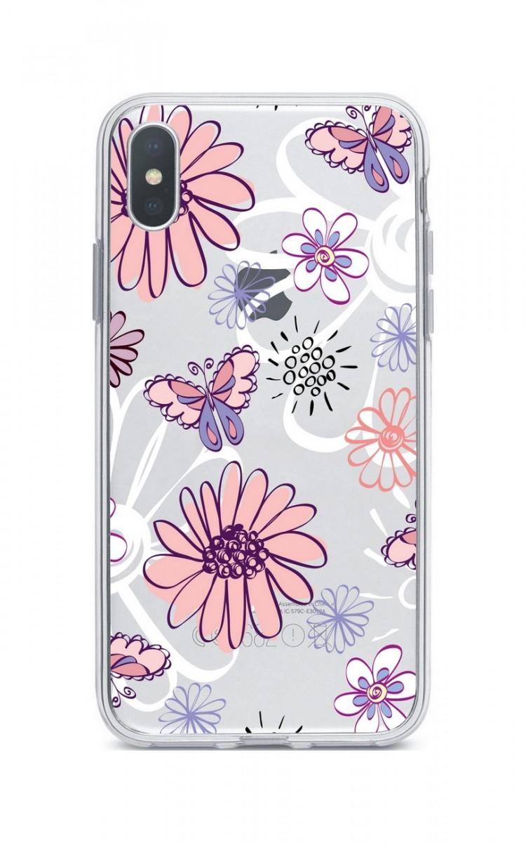 Zadní silikonový kryt na iPhone XS Max Flowers
