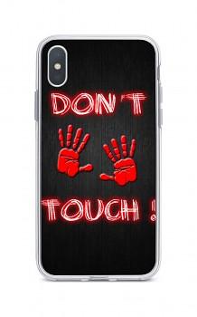Zadní silikonový kryt na iPhone XS Max Don't touch red