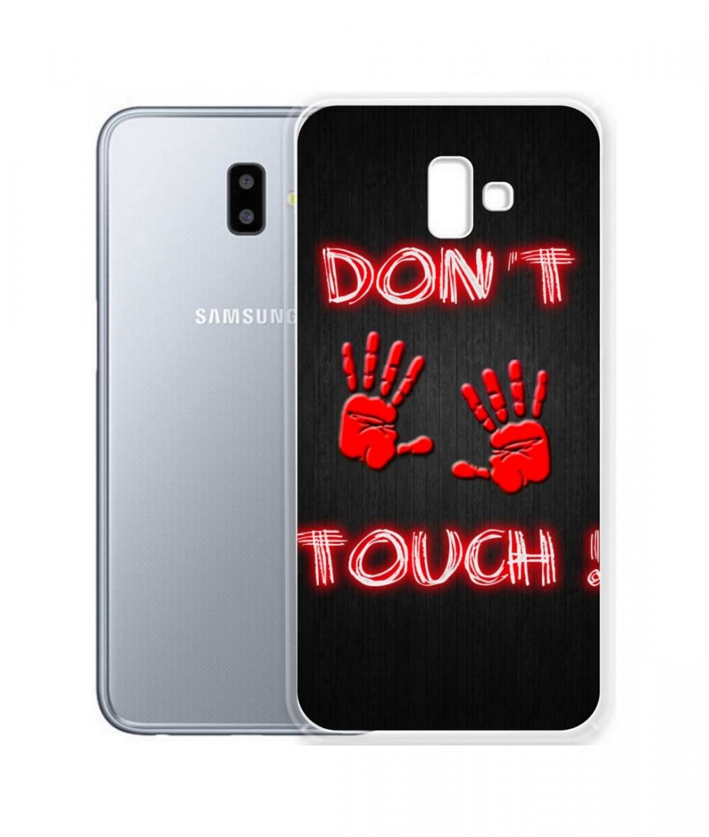 Pouzdro TopQ Samsung J6+ silikon Don't touch red 34044 (kryt neboli obal na mobil Samsung J6+)
