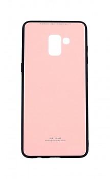 Zadní pevný kryt GLASS na Samsung A8 Plus 2018 růžový