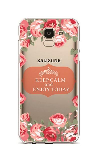 Kryt TopQ Samsung J6 silikon Keep Calm Flowers 3 37957 (pouzdro neboli obal na mobil Samsung J6)