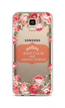 Zadní silikonový kryt na Samsung J6 Keep Calm Flowers 3