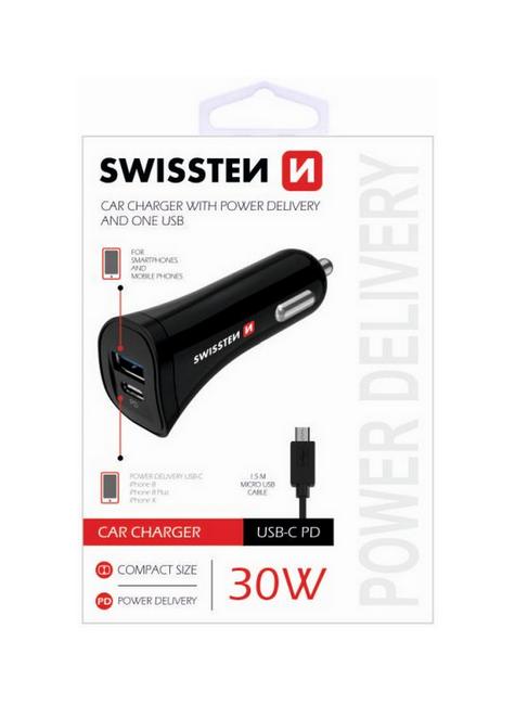Nabíječka do auta Swissten microUSB 30W černá 38112