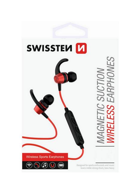 Bluetooth sluchátka SWISSTEN Active červená 39566