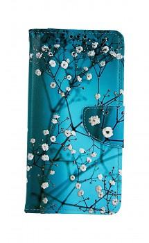 Knížkové pouzdro na Huawei Y6 2019 Modré s květy