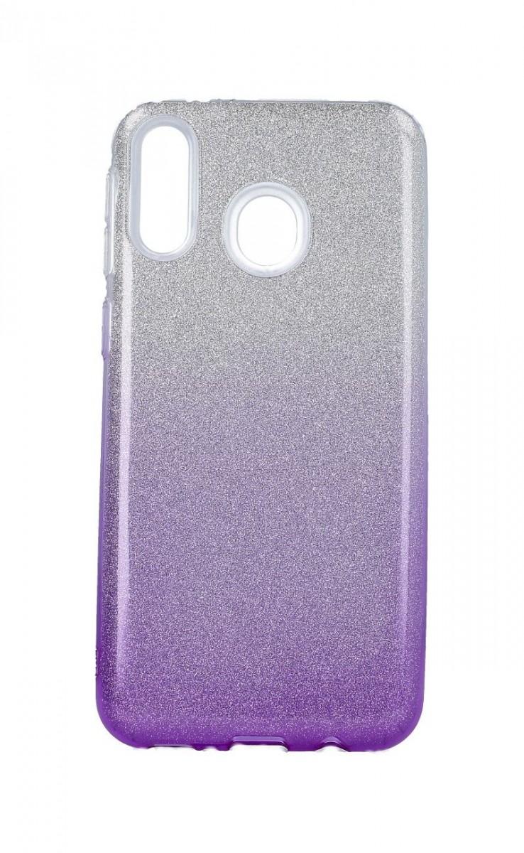 Zadní pevný kryt na Samsung M20 glitter stříbrno-fialový