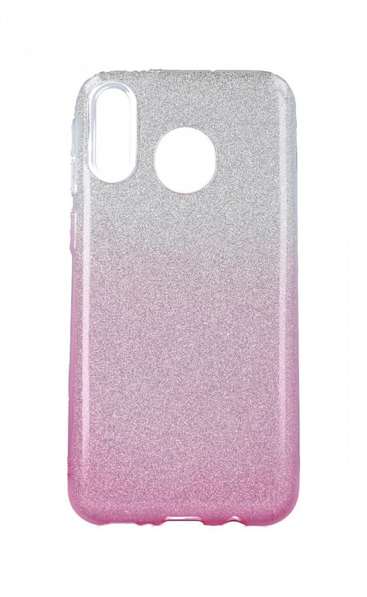 Zadní pevný kryt na Samsung M20 glitter stříbrno-růžový