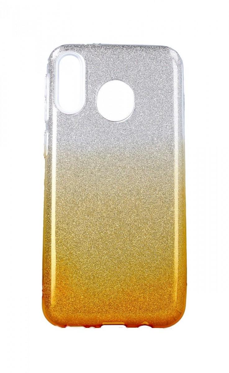 Zadní pevný kryt na Samsung M20 glitter stříbrno-oranžový