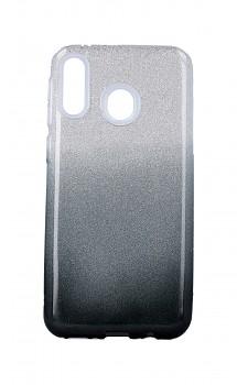 Zadní pevný kryt na Samsung M20 glitter stříbrno-černý