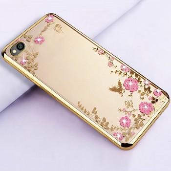 Zadní silikonový kryt na Xiaomi Redmi Go zlatý s růžovými květy