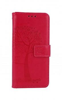 Knížkové pouzdro na Samsung A20e Tmavě růžový strom sovičky