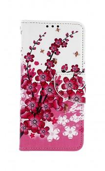 Knížkové pouzdro na Samsung A20e Kytičky textil