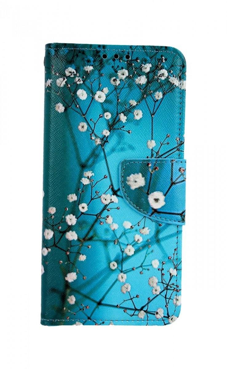 Knížkové pouzdro na Samsung A20e Modré s květy