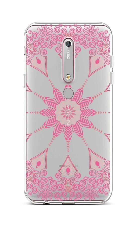 Kryt TopQ Nokia 6.1 silikon Pink Mandala 43468 (pouzdro neboli obal na mobil Nokia 6.1)