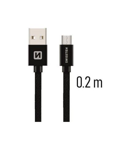 Datový kabel Swissten microUSB 0,2m černý 43806