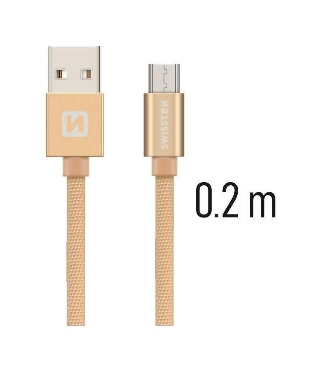 Datový kabel Swissten microUSB 0,2m zlatý 43807