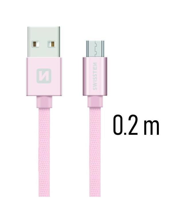 Datový kabel Swissten microUSB 0,2m růžový 43808