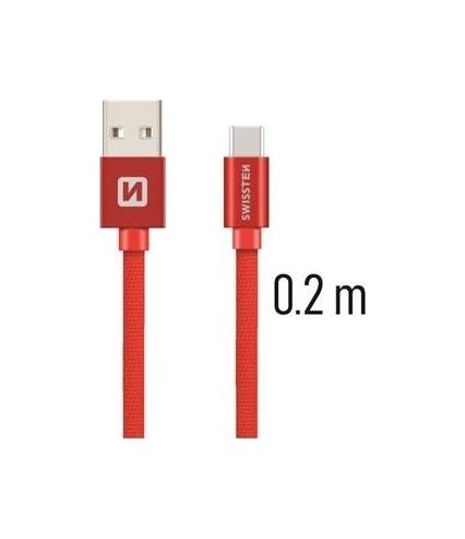 Datový kabel Swissten USB-C (Type-C) 0,2m červený 43813