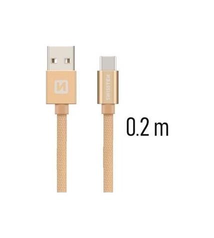 Datový kabel Swissten USB-C (Type-C) 0,2m zlatý 43815