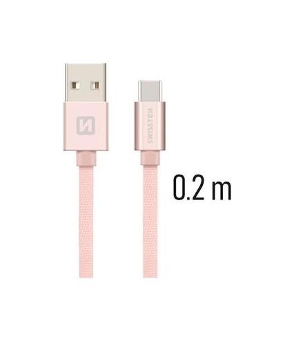Datový kabel Swissten USB-C (Type-C) 0,2m růžový 43817