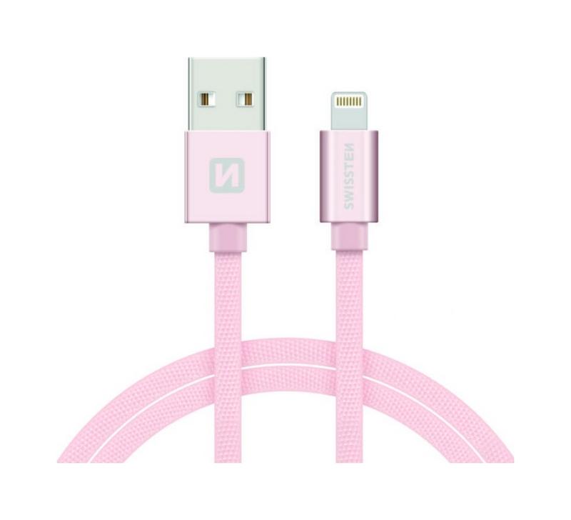Datový kabel Swissten Lightning 0,2m růžový 43828